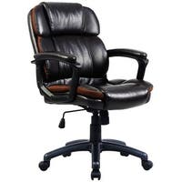 Costway Ergonomic PU Leather Mid-Back Executive Computer Desk Task Office Chair
