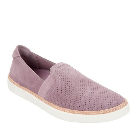 Vionic Womens Sunny Malina Perforated Suede Slip-Ons Sneakers 7M Mauve A346948