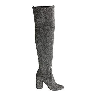 Kenneth Cole New York Women's Carah Thigh High Boot Pewter Stretch Fabric