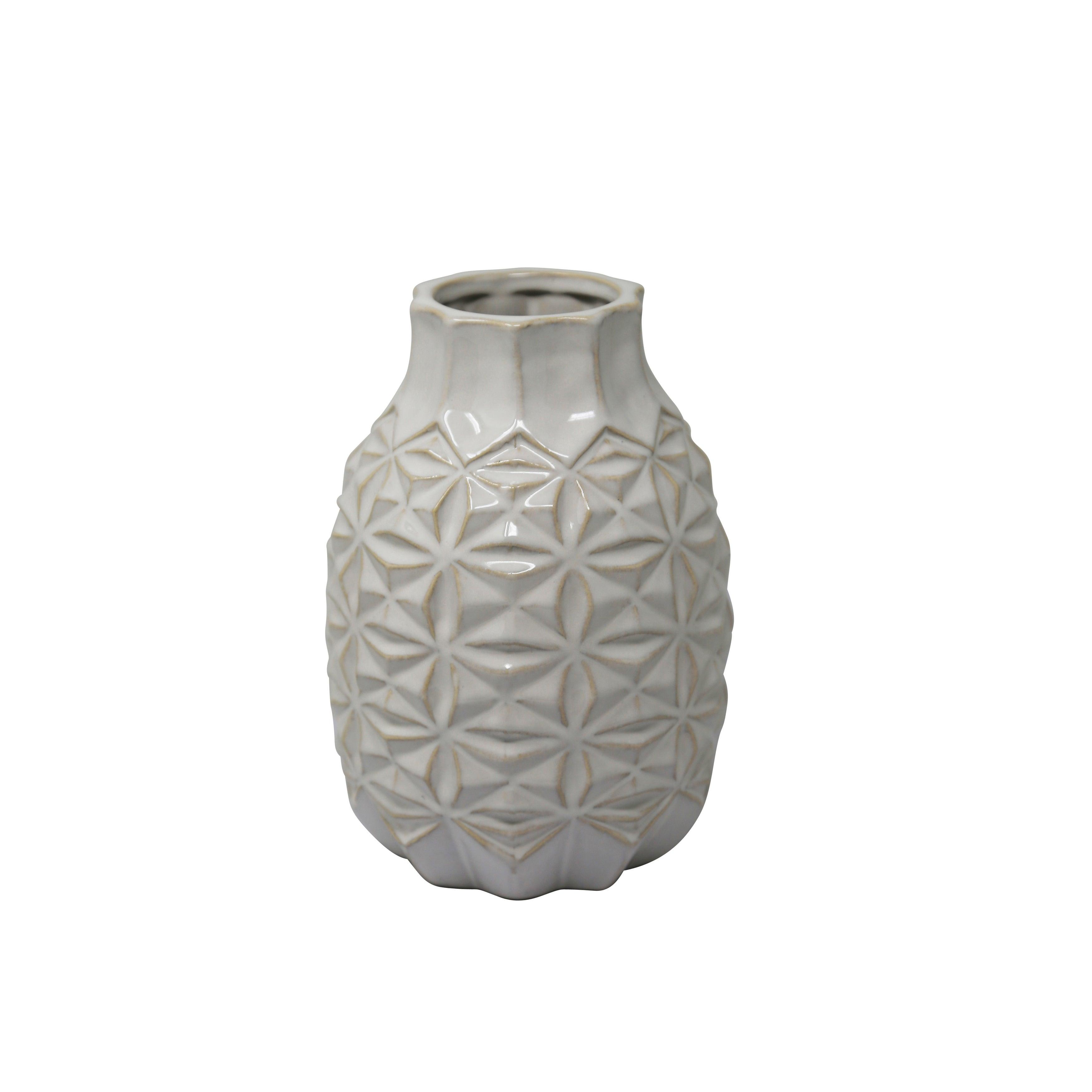 Ceramic Vase with Embossed Geometric Design Pattern, Small, White