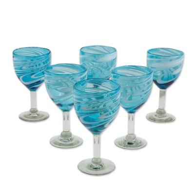 "Handmade Whirling Aquamarine Blown Glass Wine Glasses (Set Of 6) Mexico - 7.25"" H x 3.7"" Diam."