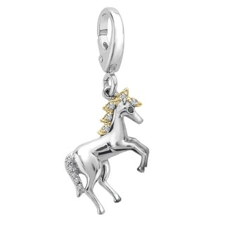 Horse Charm with Diamonds in Sterling Silver & 14K Gold