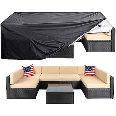 """Patio Furniture Cover Large Outdoor Sectional Furniture Set Cover - 124""""x63""""x29"""""""
