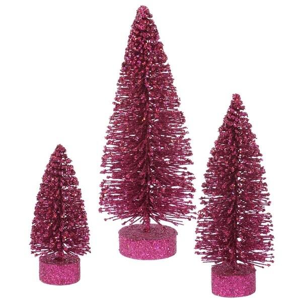 Set of 3 Dark Mauve Glittered Bottle Brush Artificial Christmas Tree Decorations