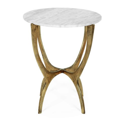 Lexie Indoor Marble and Aluminum Handcrafted Side Table by Christopher Knight Home
