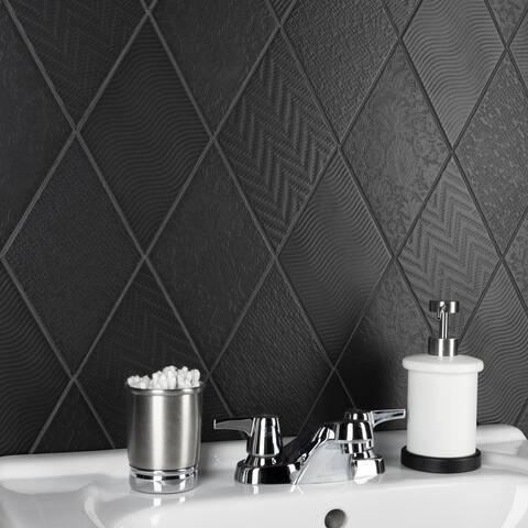 "SomerTile Rhombus Black 5.5"" x 9.5"" Porcelain Floor and Wall Tile"