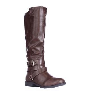 SC35 Lolah Ankle Strap Riding Boots, Cognac