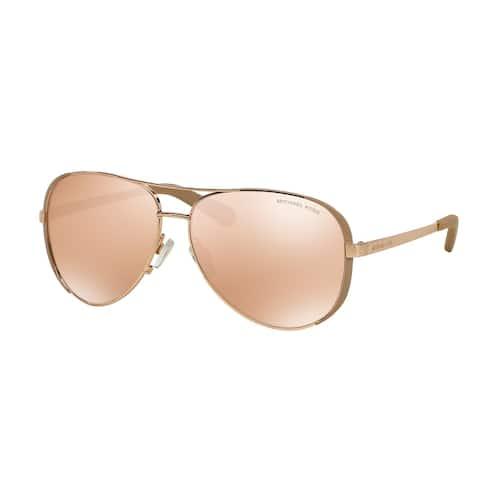 Michael Kors Womens Chelsea MK 5004 1017R1 Rose Gold And Toupe Metal Aviator Sunglasses