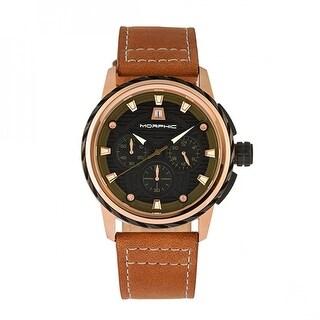 Morphic M61 Series Men's Quartz Chronograph Watch, Genuine Leather Band, Luminous Hands