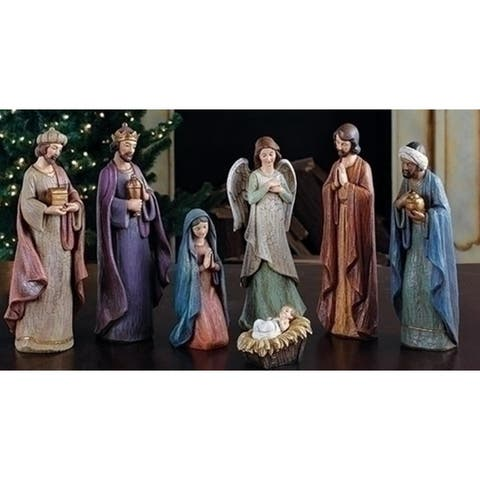 "Set of 7 Joseph's Studio Cracked Finish Religious Nativity Figures 11.5"" - N/A"