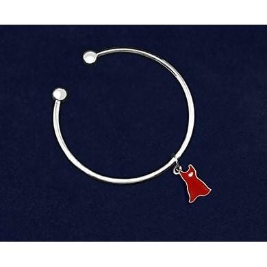 Heart Disease Awareness Open Red Dress Bangle Bracelet
