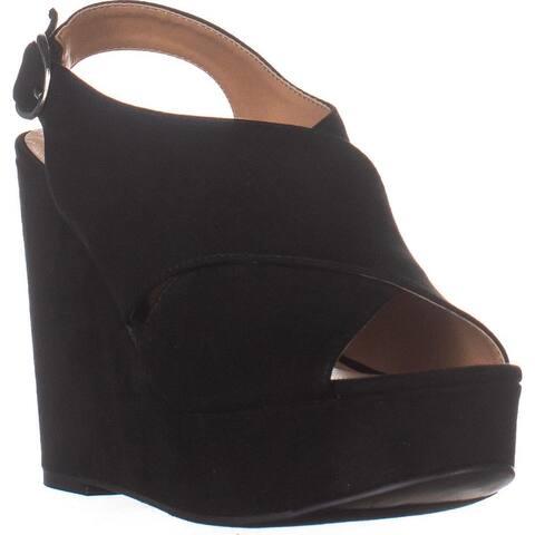 madden girl Greysen Slingback Wedge Sandals, Black - 6 US