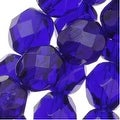 Czech Fire Polished Glass Beads 8mm Round Cobalt Blue (25) - Thumbnail 0