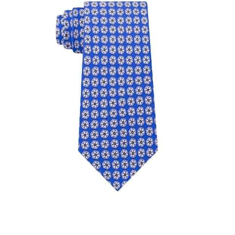 Tommy Hilfiger Men's Classic Snowflake Neat Silk Twill Tie Blue Size Regular