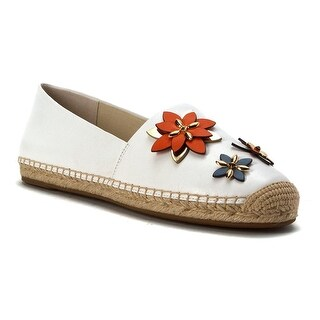 MICHAEL Michael Kors Womens Heidi Leather Closed Toe Espadrille Flats