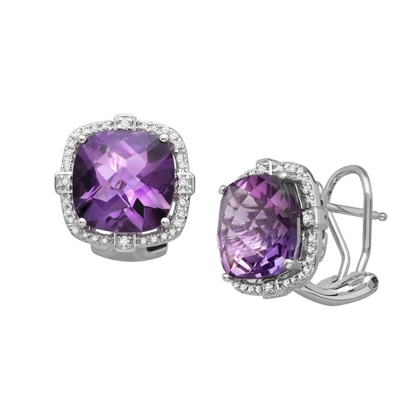7 5/8 ct Natural Amethyst & 1/5 ct Diamond Cushion Earrings in Sterling Silver - Purple