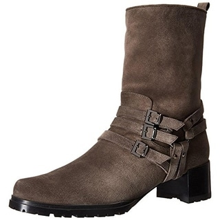 Stuart Weitzman Womens Harley Motorcycle Boots Velour Harness - 5 medium (b,m)