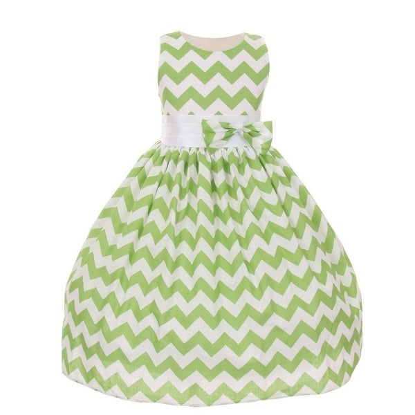 2555797c31 Shanil Inc Little Girls Sage Chevron Stripe Bow Special Occasion Dress 2T-6