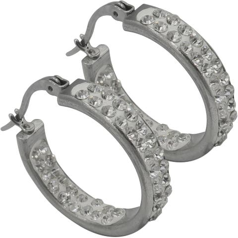 Evelots Crystal Hoop Earrings-Rhinestones-Secure Lock-Hypoallergenic-Silvertone
