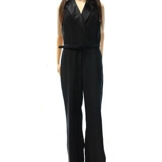 Lauren Ralph Lauren NEW Black Women's Size 8 Belted Zip Front Jumpsuit