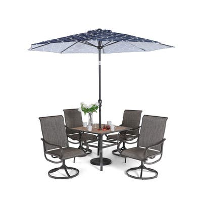 """Sophia & William Patio Dining Set 6 Pieces with 9 ft Umbrella, 1x Square 37""""x 37"""" Dining Table, 4 Swivel Chairs Furniture Set"""