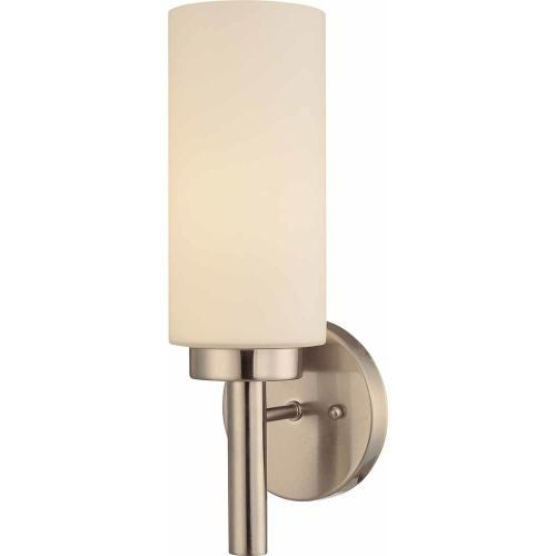 """Volume Lighting V2121 13.75"""" Height Wall Sconce with 1 Light and White Glass"""