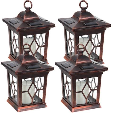 Sunnydaze Lucien Outdoor Solar LED Candle Lantern - Set of 4 - Copper - 9-Inch