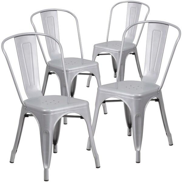 4 Pack Metal Indoor-Outdoor Stackable Chair - Restaurant Chair - Bistro Chair. Opens flyout.