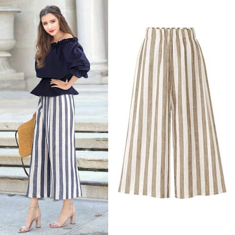 Women's Plus Size Nine-Point Loose Striped Pants