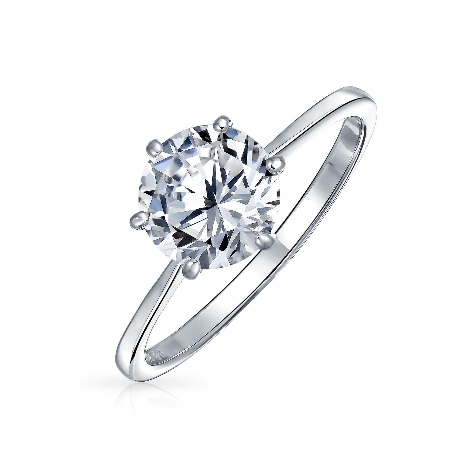 9813ec99e Shop Simple 2.5 CT 6 Prong Brilliant Cut AAA CZ Solitaire Engagement Ring  For Women 1mm Thin Band 925 Sterling Silver - On Sale - Free Shipping On  Orders ...