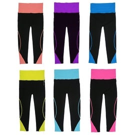 Women 6 Pack Fold Over Contast Color Athletic Sports Carpis Leggings