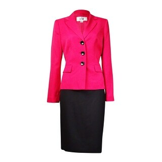 Le Suit Women's St. Tropez Notch Flap Pocket Skirt Suit - wild rose/black (Option: 4)