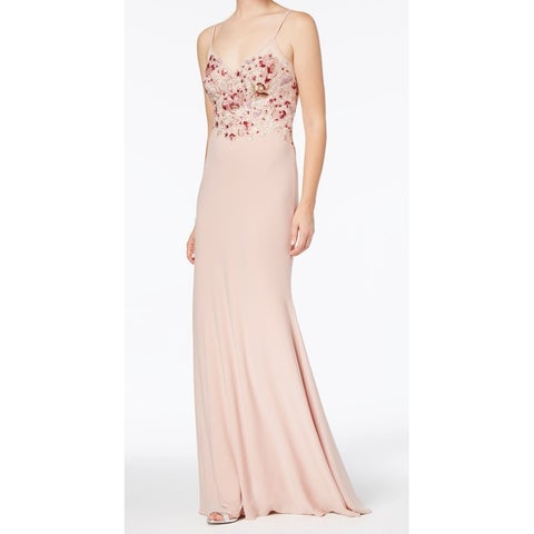 Xscape Pink Womens Size 8 Embroidered Beaded Lace Sheath Dress