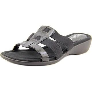 Life Stride Talk Women W Open Toe Leather Black Slides Sandal