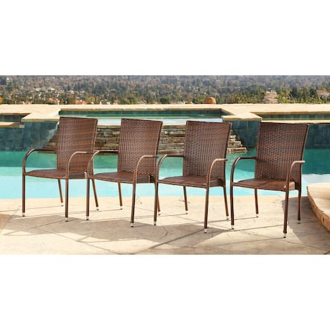 Abbyson Outdoor Palermo Wicker Dining Chair (Set of 4)