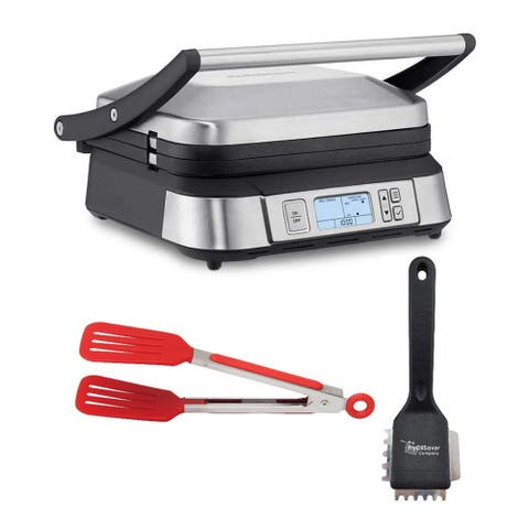 Cuisinart GR-6S Smoke-less Contact Griddler with Grill Brush Bundle