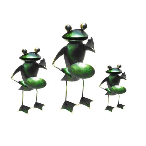 Offex Handmade Multi Color T-Light Iron Frog Candle Holder Decorative Figurine - Set of 3 Pieces