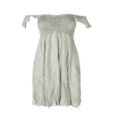 Raviya Sage Green Off-The-Shoulder Smocked Ruffled Mini Dress Cover-Up L
