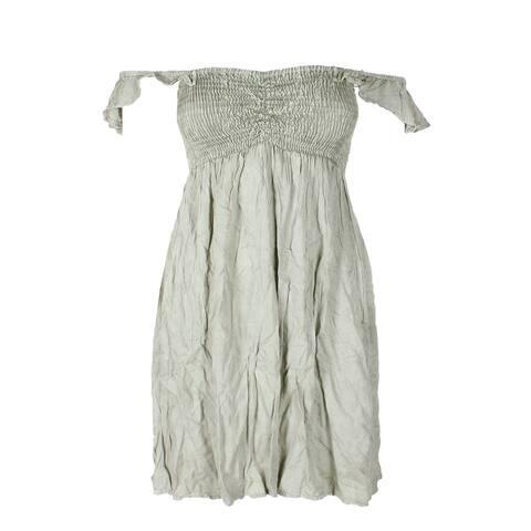 Raviya Sage Green Off-The-Shoulder Smocked Ruffled Mini Dress Cover-Up M