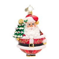 Christopher Radko Glass Festive Fellow Santa Claus Christmas Ornament #1017515 - RED