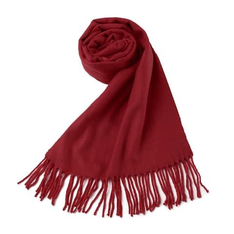 Women Fringe Pashmina Shawl Wrap Warm Scarf Soft Burgundy - Burgundy-Kintted - One Size