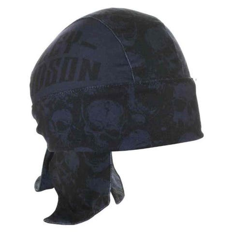 Harley-Davidson Men's Spiked Text & Skulls Headwrap, Black & Navy HW20889 - One Size
