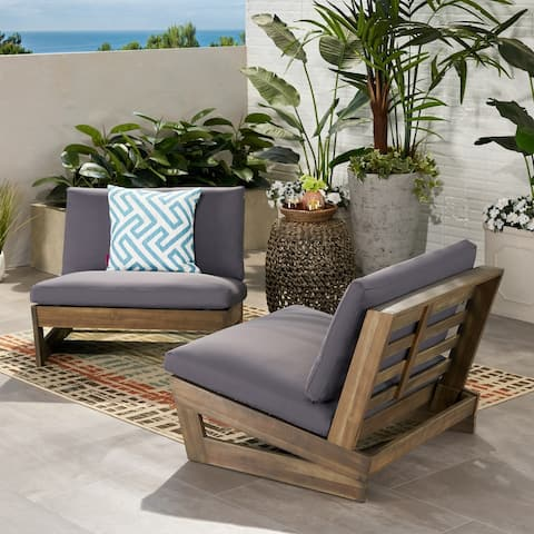 Sherwood Outdoor Acacia Club Chairs with Cushions (Set of 2) by Christopher Knight Home