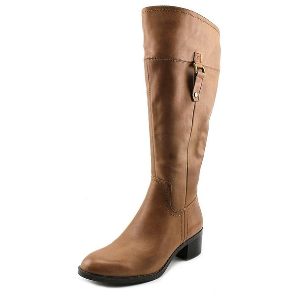2d3a46c56e80 Franco Sarto Lizbeth Wide Calf Women Round Toe Leather Brown Knee High Boot