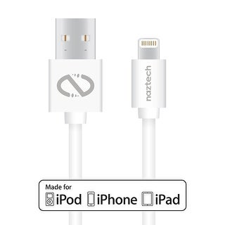 Naztech MFI Lightning Charge & Sync USB Cable 10ft Foil Pack (White)