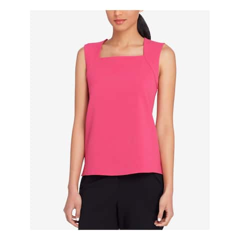 TAHARI Womens Pink Crepe Shell Sleeveless Square Neck Top Size: 6