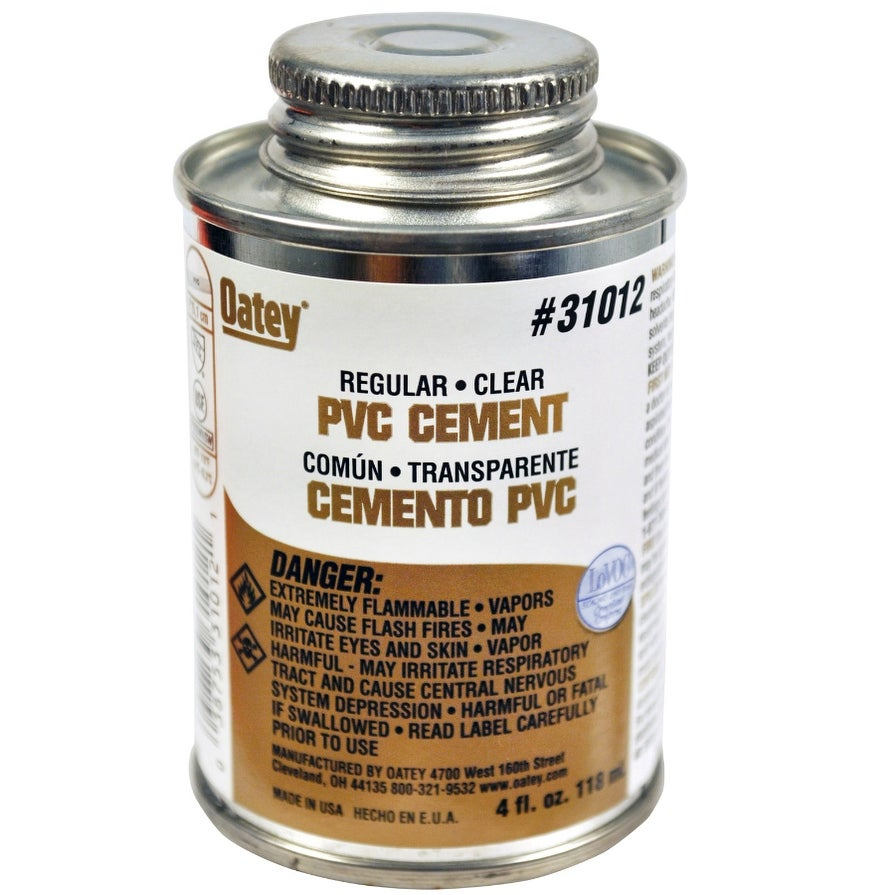 Oatey 31012 Regular Bodied PVC Pipe Cement, 4 Oz, Clear