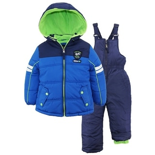 iXtreme Little Boys Active Colorblock 2Pc Snowsuit Puffer Jacket Ski Bib Pant
