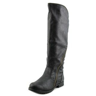 Qupid Wyatte-13 Women Round Toe Synthetic Black Knee High Boot