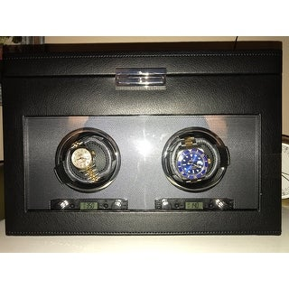 WOLF Viceroy Black Faux Leather Module 2.7 Double Watch Winder